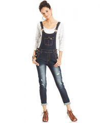 Jou Jou Juniors Distressed Denim Overalls - Juniors Jeans - Macys at Macys