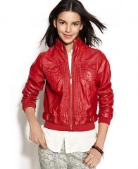 Jou Jou Juniors Faux-Leather Bomber Jacket - Coats - Women - Macys at Macys