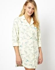 Joules bird print night shirt at Asos