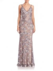 Jovani - Embellished Floral Lace Gown at Saks Off 5th