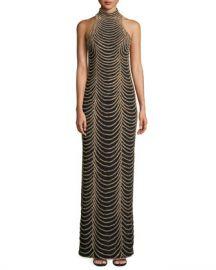Jovani Halter-Neck Long Layered Chain Dress at Neiman Marcus