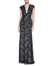 Jovani Plunge-Neck Beaded Lace Gown at Neiman Marcus