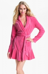 Juicy Couture Short Velour Robe in pink at Nordstrom