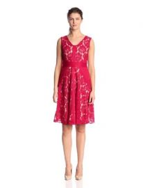 Julian Taylor Womenand39s Sleeveless V-Neck Lace Dress  Amazoncom at Amazon