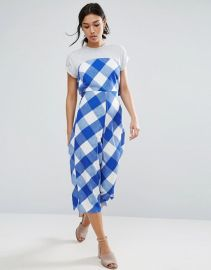 Jumpsuit in Gingham with Jersey T-Shirt ASOS at ASOS