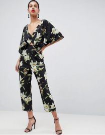 Jumpsuit with Kimono Sleeve in Lily Print at Asos