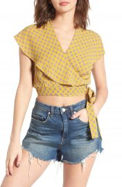 June   Hudson Cape Sleeve Wrap Crop Top at Nordstrom