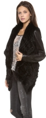 June Knit Fur Jacket with Leather Sleeves in Black at Shopbop