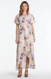 June andamp Hudson Floral Print HighLow Wrap Dress at Nordstrom