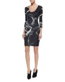 Just Cavalli 34-Sleeve Snake-Print Slim Dress at Neiman Marcus