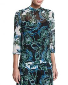 Just Cavalli Ikebana-Print High-Collar Blouse at Neiman Marcus
