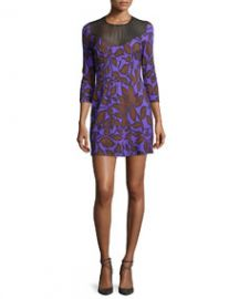 Just Cavalli Leaf-Print 34-Sleeve Shift Dress Violet at Neiman Marcus