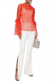 Just Lust bow-detailed lace blouse at The Outnet