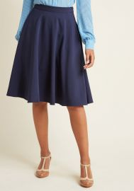 Just This Sway A-Line Skirt in Navy at ModCloth