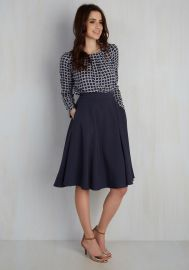 Just This Sway Midi Skirt in Navy at ModCloth