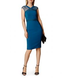 KAREN MILLEN Lace  amp  Mesh Dress at Bloomingdales