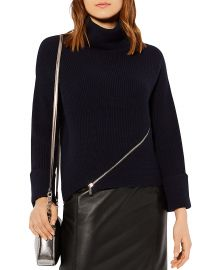 KAREN MILLEN Zip-Detail Turtleneck Sweater at Bloomingdales
