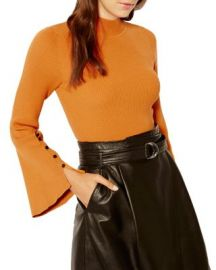 KAREN MILLEN Bell Sleeve Ribbed Sweater at Bloomingdales