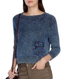 KAREN MILLEN Denim Inset Knit Sweater at Bloomingdales