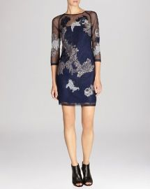 KAREN MILLEN Dress - Lace Embroidered Illusion Detail at Bloomingdales