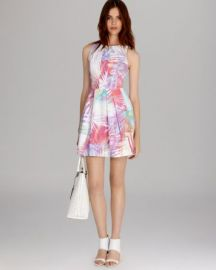 KAREN MILLEN Dress - Palm Print Collection Skater at Bloomingdales