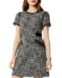 KAREN MILLEN Faux-Leather Trim Tweed Dress   Bloomingdale  39 s at Bloomingdales