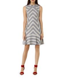 KAREN MILLEN Fit and Flare Zigzag Tweed Dress at Bloomingdales