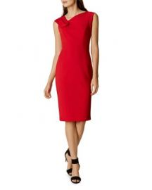 KAREN MILLEN Fold-Detail Pencil Dress at Bloomingdales