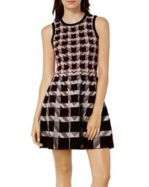 KAREN MILLEN Houndstooth A-Line Dress at Bloomingdales