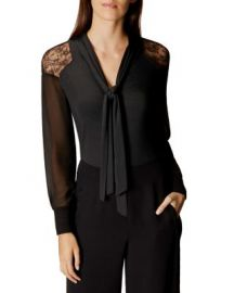 KAREN MILLEN Lace Shoulder Tie Neck Blouse at Bloomingdales