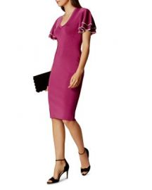 KAREN MILLEN Ruffled-Sleeve Knit Dress at Bloomingdales