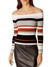 KAREN MILLEN Striped Off-the-Shoulder Top at Bloomingdales