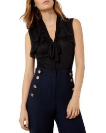 KAREN MILLEN Tie Neck Draped Top at Bloomingdales