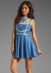 KEEPSAKE Never Miss a Beat Dress in Cornflower BlueCream at Revolve