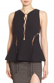 KENDALL   KYLIE Lace-Up Peplum Top in Black at Nordstrom