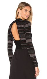 KENDALL   KYLIE Lurex Stripe Long Sleeve Sweater in Black Multi from Revolve com at Revolve