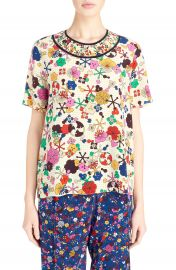 KENZO  Tanami Flower  Silk Crepe Top at Nordstrom