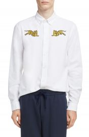 KENZO Jumping Tiger Crest Woven Shirt at Nordstrom