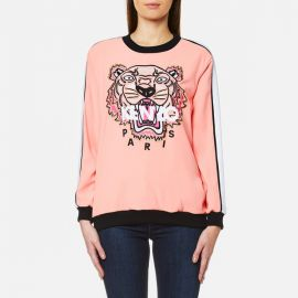 KENZO Women\'s Crepe Back Satin Tiger Sweatshirt - Flamingo Pink at Coggles
