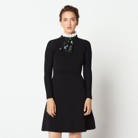 KNIT DRESS WITH SCARF COLLAR at Sandro