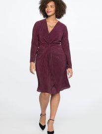 KNOT FRONT ACCORDION DRESS at Eloquii