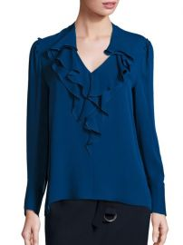 KOBI HALPERIN - Ruffled Slim Silk Top in Blue at Saks Fifth Avenue