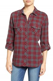 KUT from the Kloth  Evelyn  Plaid Roll Sleeve Shirt at Nordstrom