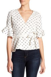 Kaitlyn Ruffle Sleeve Blouse by Wayf at Nordstrom Rack