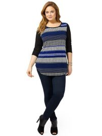 Karen Kane Lunar Houndstooth Stripe Top at Gwynnie Bee