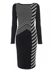 Karen Millen Graphic Chevron Knit Dress at House of Fraser