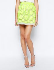 Karen Millen Neon Lace Skirt at Asos