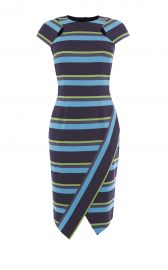 Karen Millen Striped Asymmetric Pencil Dress at Karen Millen