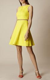 Karen Millen Yellow Lace Up Cotton Dress at Karen Millen