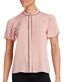 Karl Lagerfeld Pleated-Sleeve Contrast-Trim Blouse at Last Call
